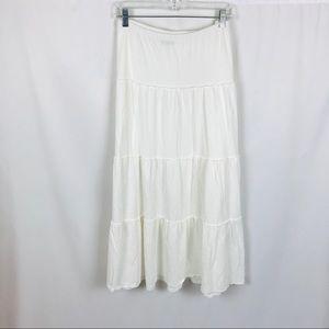 J. Jill solid white boho maxi skirt